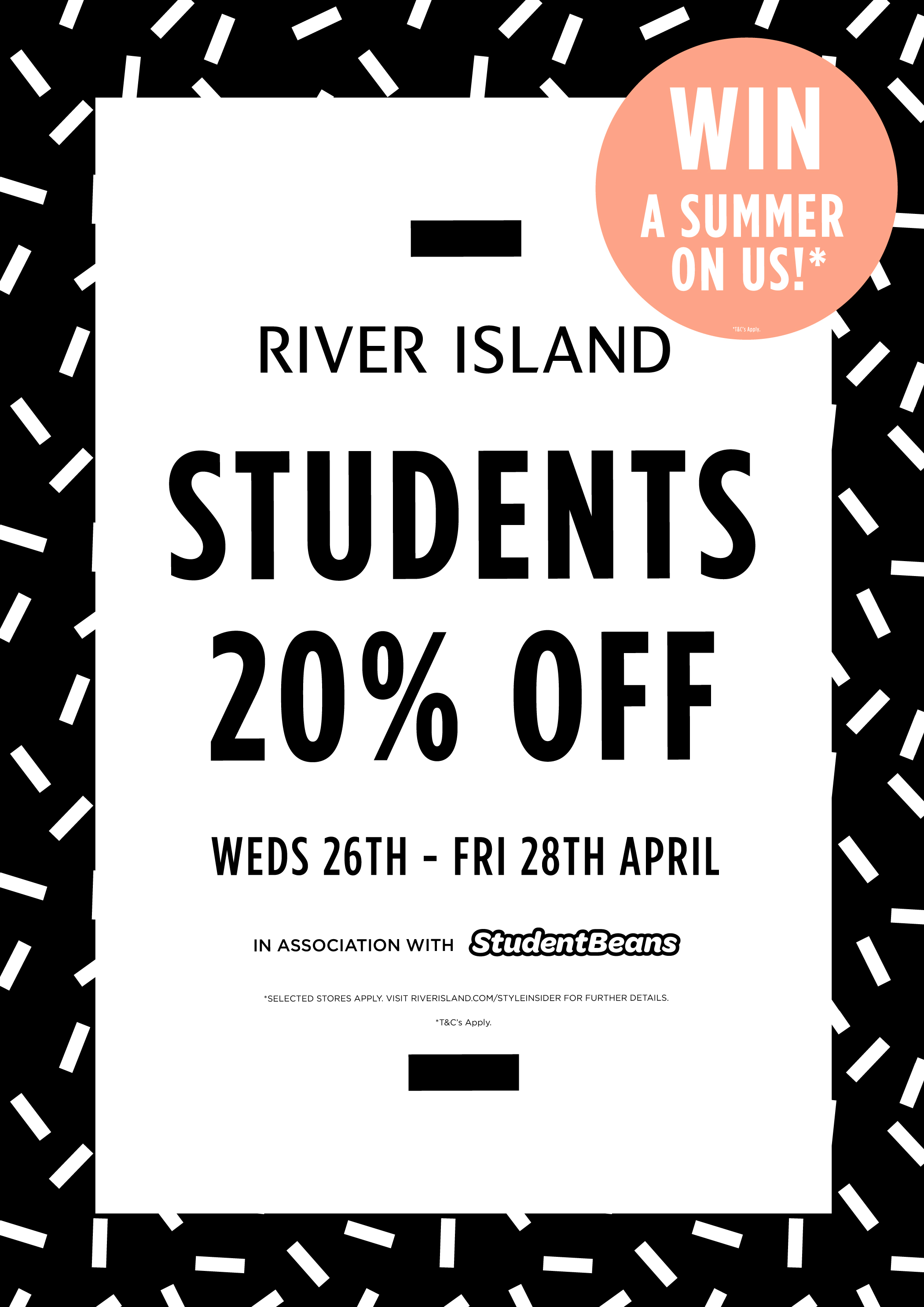 Just click Get Deal to Sign Up and get your free £10 River Island Voucher, as well as 20% off for a friend. Plus get the latest River Island student discount.